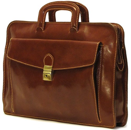 Floto Luggage Milano Leather Laptop Sleeve, Brown, Medium