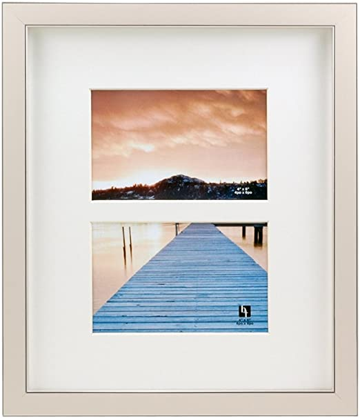BorderTrends Echo 10x12//5x7-Inch Wall Photo Frame Simply White with White Mat