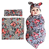 Newborn Swaddle Blanket Headband with Bow Set Baby Receiving Blankets (Gray 1 Pack)