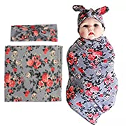 habibee Newborn Swaddle Blanket Headband with Bow Set Baby Receiving Blankets (Gray 1 Pack)