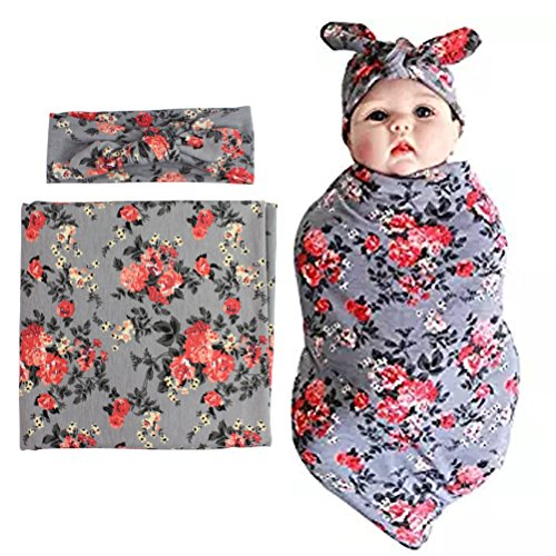 habibee Newborn Swaddle Blanket Headband with Bow Set Baby Receiving Blankets (Gray 1 Pack) (Headbands Unique Baby)
