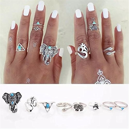 Botrong New Style 8PCS/Set Bohemian Elephant Midi Ring Set Steampunk Turquoise Knuckle (Yellow Heart Style Birthstone Earrings)