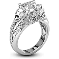 sirimongkol Men&Womens Skull 925 Silver White Sapphire Wedding Ring Fashion Jewelry Gifts (8)