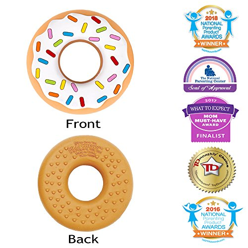 Silli Chews Vanilla Donut (Doughnut) Teether Favorite Happy Baby Teething Toy Food Grade Silicone Holiday Gift Idea