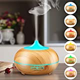 Aromatherapy Essential Oil Diffuser, URPOWER 300ml Wood Grain Ultrasonic Cool Mist Whisper-Quiet Humidifier with Color LED Lights Changing & 4 Timer Settings, Waterless Auto Shut-Off for Spa Baby