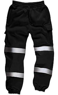 Hi Viz High Visibility Mens Work Trouser Reflective Fleece Safety Worker Joggers