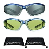 Chrome Frame Anti Glare Mirrored Motorcycle Sunglasses with Rhinestones Foam Padded for Women (Blue Smoke + Blue Yellow)
