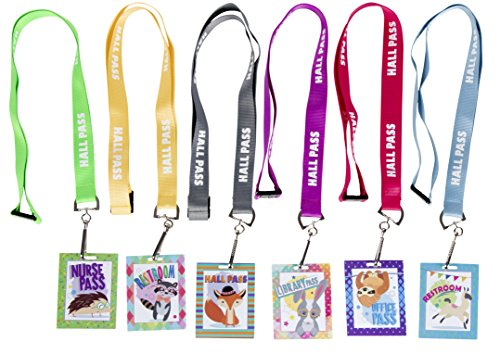 Hall Passes - 12-Piece School Passes with Breakaway Lanyards, 2 of Each 6 Destinations, Classroom Supplies, 2.3 x 3 - Pass Hall