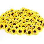 KINWELL-100pcs-Artificial-Silk-Yellow-Sunflower-Heads-18-Fabric-Floral-for-Home-Decoration-Wedding-Decor-Bride-Holding-FlowersGarden-Craft-Art-Decor