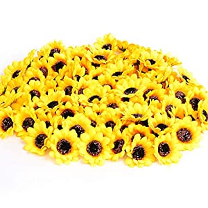 "KINWELL 100pcs Artificial Silk Yellow Sunflower Heads 1.8"" Fabric Floral for Home Decoration Wedding Decor, Bride Holding Flowers,Garden Craft Art Decor 109"