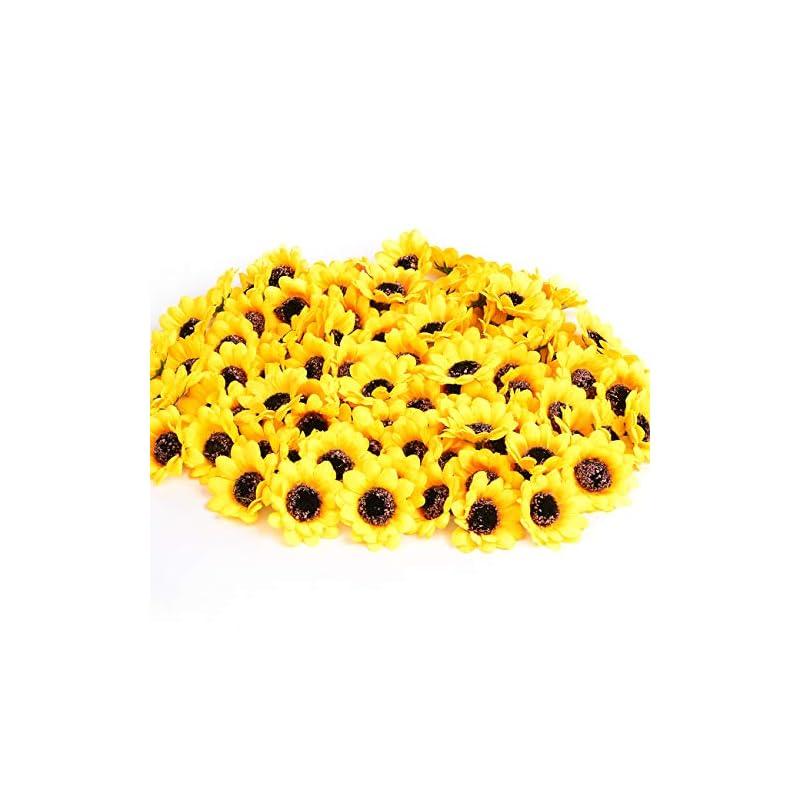 """silk flower arrangements kinwell 200pcs 1.8"""" artificial silk yellow sunflower heads fabric floral for home decoration wedding decor, bride holding flowers,garden craft art decor"""
