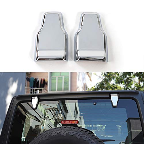 BORUIEN for Jeep Wrangler JL 2018 Up Chrome ABS Rear Door Window Hinge Cover Decoration Stickers for Jeep JL Wrangler 2018+
