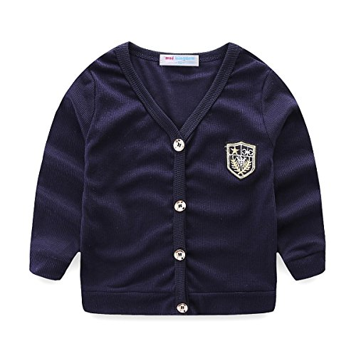 UWESPRING Kids Boys England Style V-neck Cardigan Knit Sweater Coats 5T Navy
