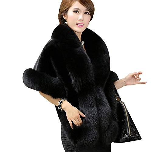 (Roniky Women's Faux Fur Coat Wedding Cloak Cape Shawl for Evening Party)
