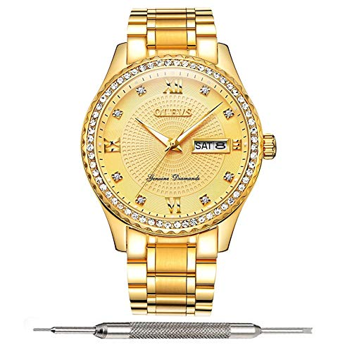 Date Diamond Wrist Watch - Gold Wrist Watches for Men Cheap Waterproof Stainless Steel Quartz Watches Calendar Date Window Roman Numerals Watches Men Crystal Diamond Luminescence Display Watches for Men on Sale with Fine OLEVS