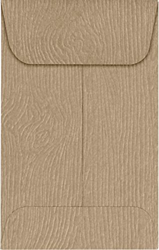 #1 Coin Envelopes (2 1/4 x 3 1/2) – Oak Woodgrain (50 Qty.) | Perfect for the HOLIDAYS, Weddings, Parties & Place Cards| Fits Small Parts, Stamps, Jewelry, Seeds | 1COS01-50