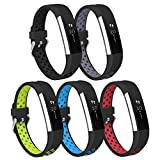 iHillon For Fitbit Alta (HR) Bands, 5-Pack Two-Toned Breathable Sport Strap with Metal Buckle for Fitbit Alta/ Alta Hr for Women Men, Large