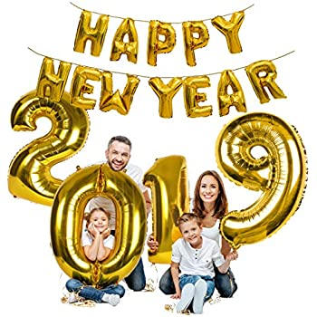 treasures gifted gold happy new year decorations 2019 balloon banner nye party supplies 16 inch foil mirror mylar letter balloon celebration decorations