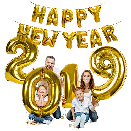 Treasures Gifted Gold Happy New Year Decorations 2019 Balloon Banner NYE Party Supplies 16 Inch Foil Mirror Mylar Letter Balloon Celebration Decorations -