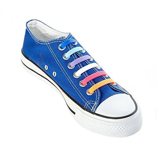 Cusfull Perezoso No elástico Lazo silicona cordones de los zapatos moda fresca rápida cordones de las botas para adultos - 16pc / 8 par Varios colores