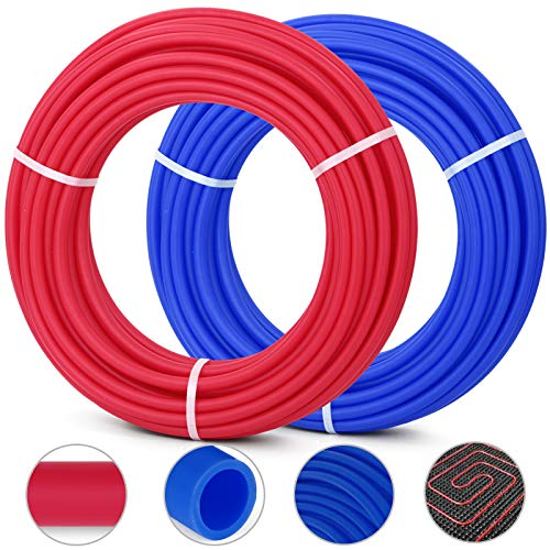 Happybuy Oxygen O2 Barrier PEX Tubing - 2 Rolls of 1/2 Inch X 100 Feet Tube Coil - EVOH PEX-B Pipe for Residential Commercial Radiant Floor Heating Pex Pipe (1/2