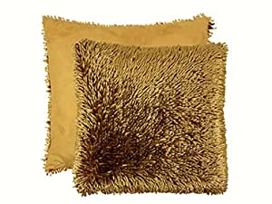 """LUXURIOUS LATTE GOLD SHAGGY CHENILLE TWIST THICK SUPERSOFT CUSHION COVER 16"""" - 40CM"""