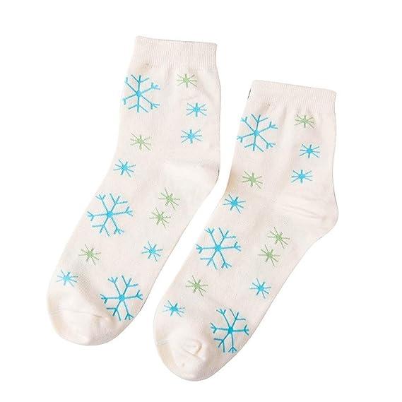 Miss Fortan Calcetines Navidad Hombre Elásticos Compresión Transpirable Copo de Nieve Tubo Medio Calcetine de Puro Algodón crema: Amazon.es: Ropa y ...