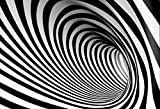 Leyiyi 8x6ft Photography Backgroud 3D Vortex Backdrop Abstract Mysterious Tunnel Vortex Ciycles Black White Stripes Whirlingig Concert Vlogger Space Summer Party Photo Portrait Vinyl Studio Prop