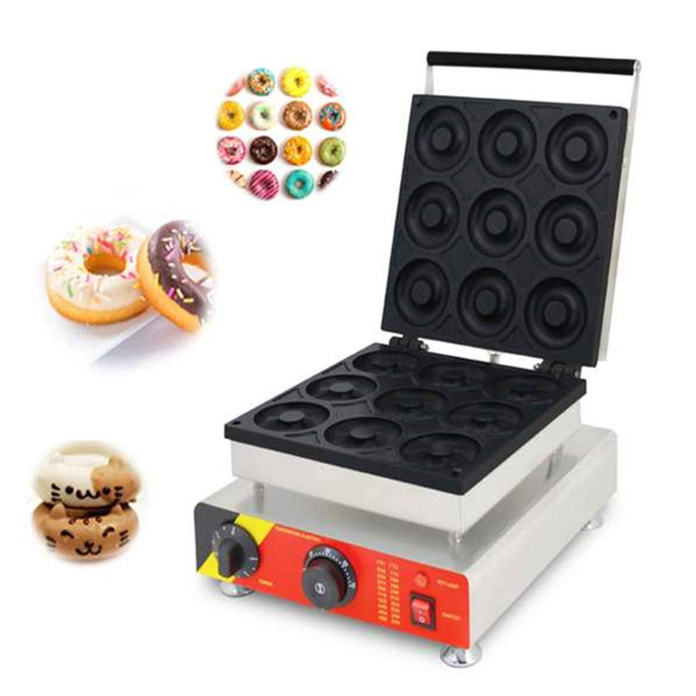 ANGELA Commercial Donut Maker Backer, 9 Pieces Electric Doughnut Machine, Non-Stick, Controllable Temperature, for Restaurants and Homes Use, 2500W by ANGELA