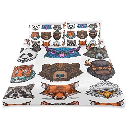 PENGTU Duvet Cover Set Seamless Pattern Wild Animals Wallpaper Textiles Decorative 3 Piece Bedding Set with 2 Pillow Shams Soft Bedding Set with Zipper Closure