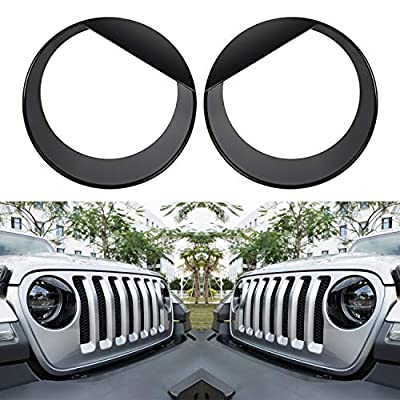 Sunluway Angry Bird Headlight Covers Trim Clip-in Version Front Lamp Covers for 2018 2019 Jeep Wrangler JL Sport/Sports