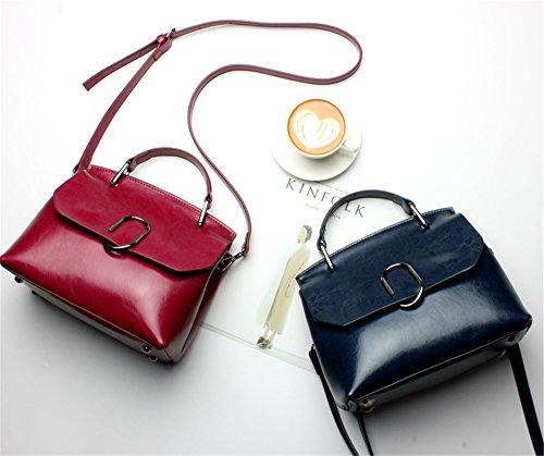 Bolsa de mujeres XinMaoYuan Cera de aceite de primavera bolso de cuero del hombro bolso de cuero Cross-Portable oblicua horizontal Paquete de alas Vino rojo