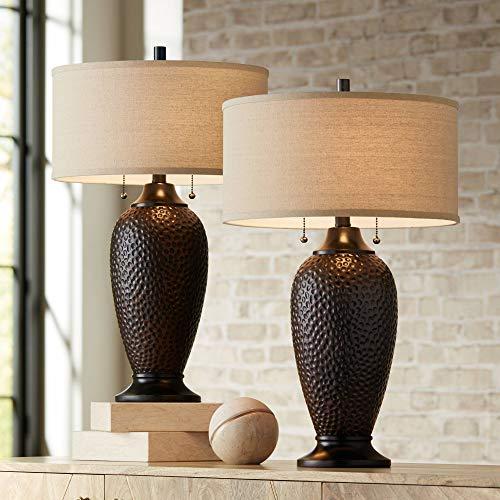 Cody Modern Table Lamps Set of 2 Hammered Oiled Bronze Oatmeal Linen Drum Shade for Living Room Family Bedroom Office - 360 Lighting