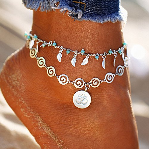 Spiral Flower Charms - GUAngqi Spiral Style Flower Leaf Multicolored Anklet Vintage Round Spiral Pendant Anklet For Women Charm Jewelry Chain