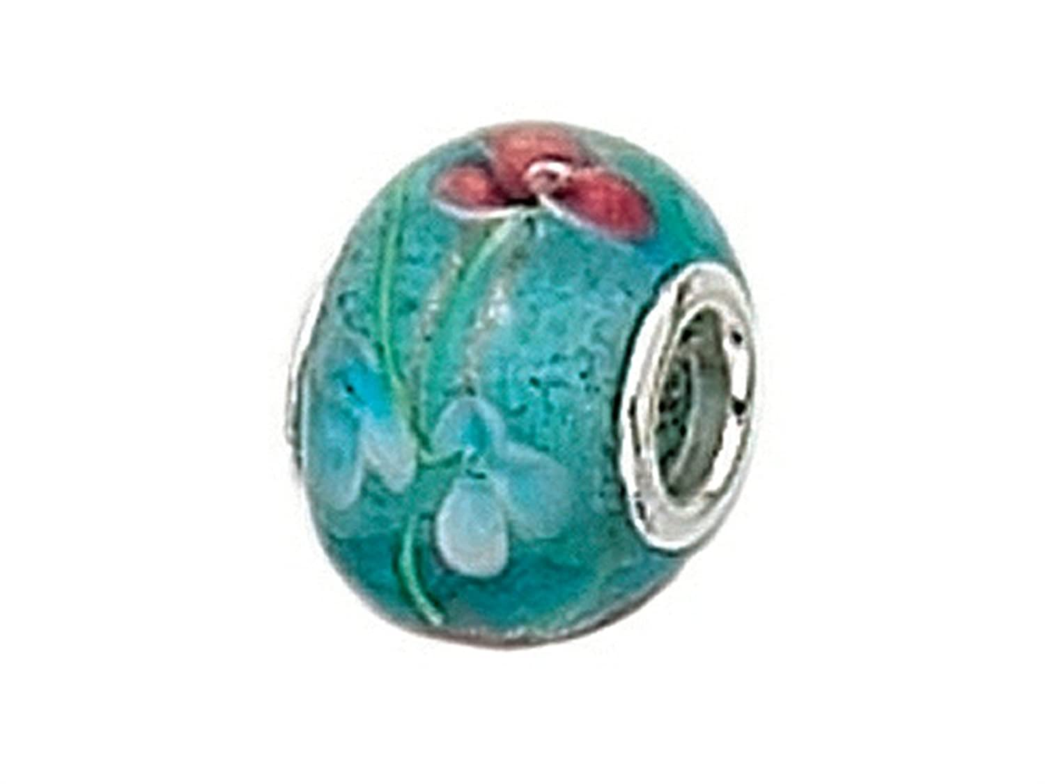 Zable Sterling Silver Murano Glass-Blue Polka Bead//Charm