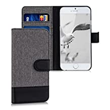 kwmobile Wallet case canvas cover for Apple iPhone 6 / 6S - Flip case with card slot and stand in grey black