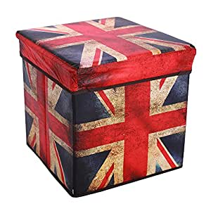 Retro Multifunctional Storage Ottoman, Foldable Non-woven Fabrics Cube Footrest Stool Seat with Organizer for Coffee Table,Camping Fishing