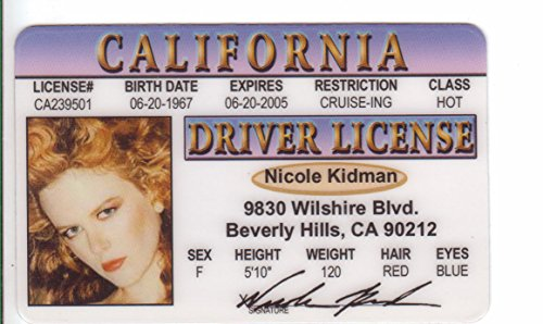Nicole Kidman Novelty Drivers License / Fake I.d. Identification for fans of Days of Thunder, Batman Forever and Moulin Rouge