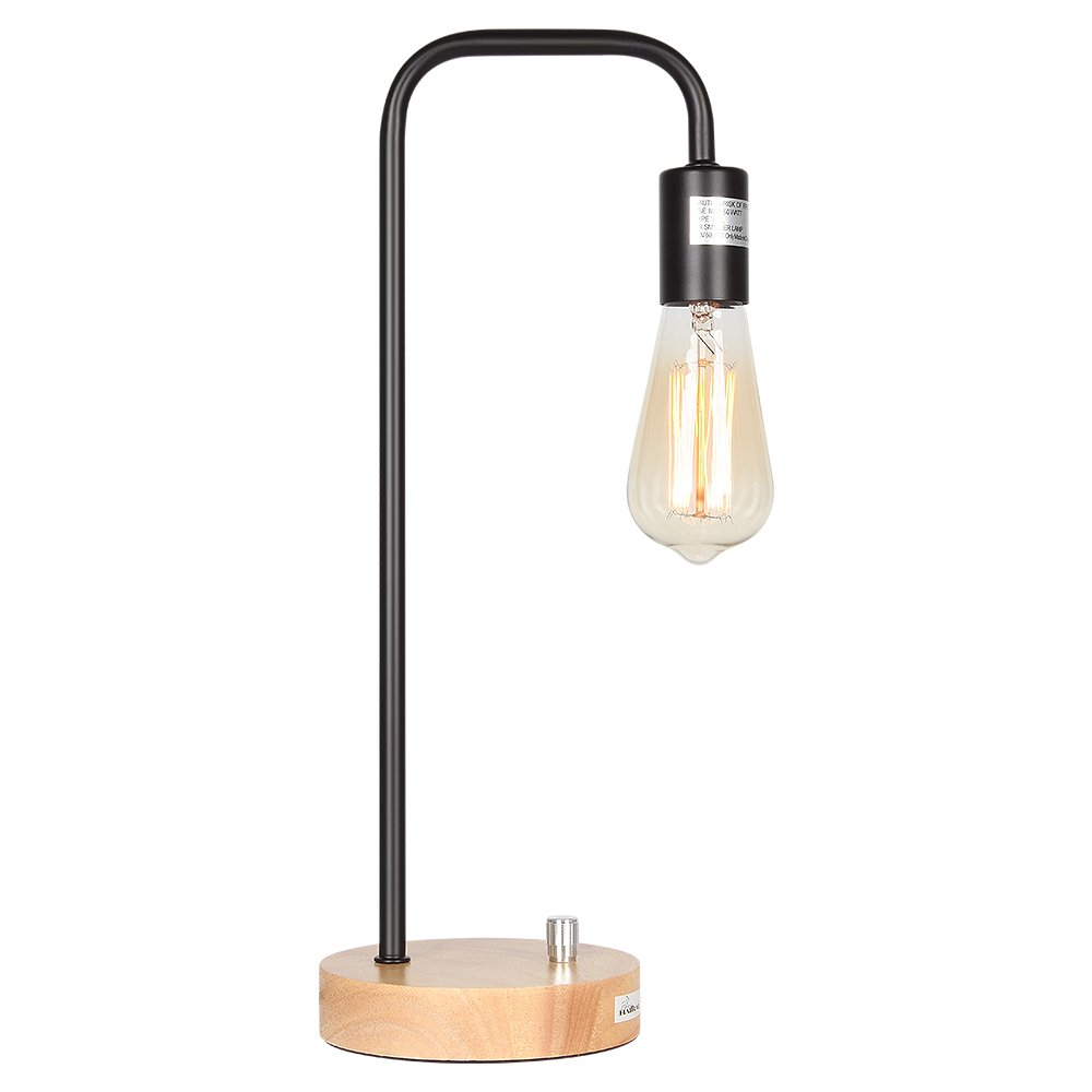 HAITRAL Desk Lamp Wooden Industrial Table Lamp for Office, Bedroom, Living room by HAITRAL (Image #7)