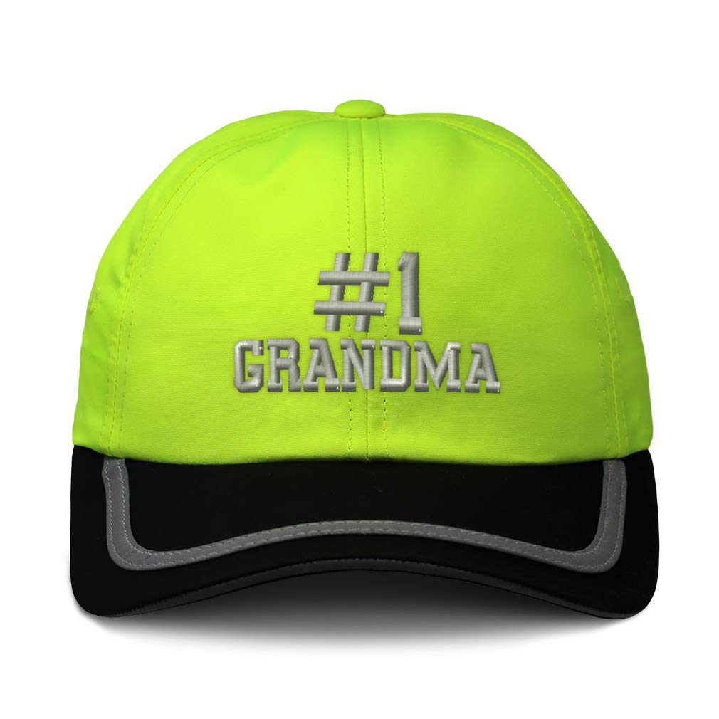 Custom Reflective Running Hat Number #1 Grandma Embroidery Polyester One Size