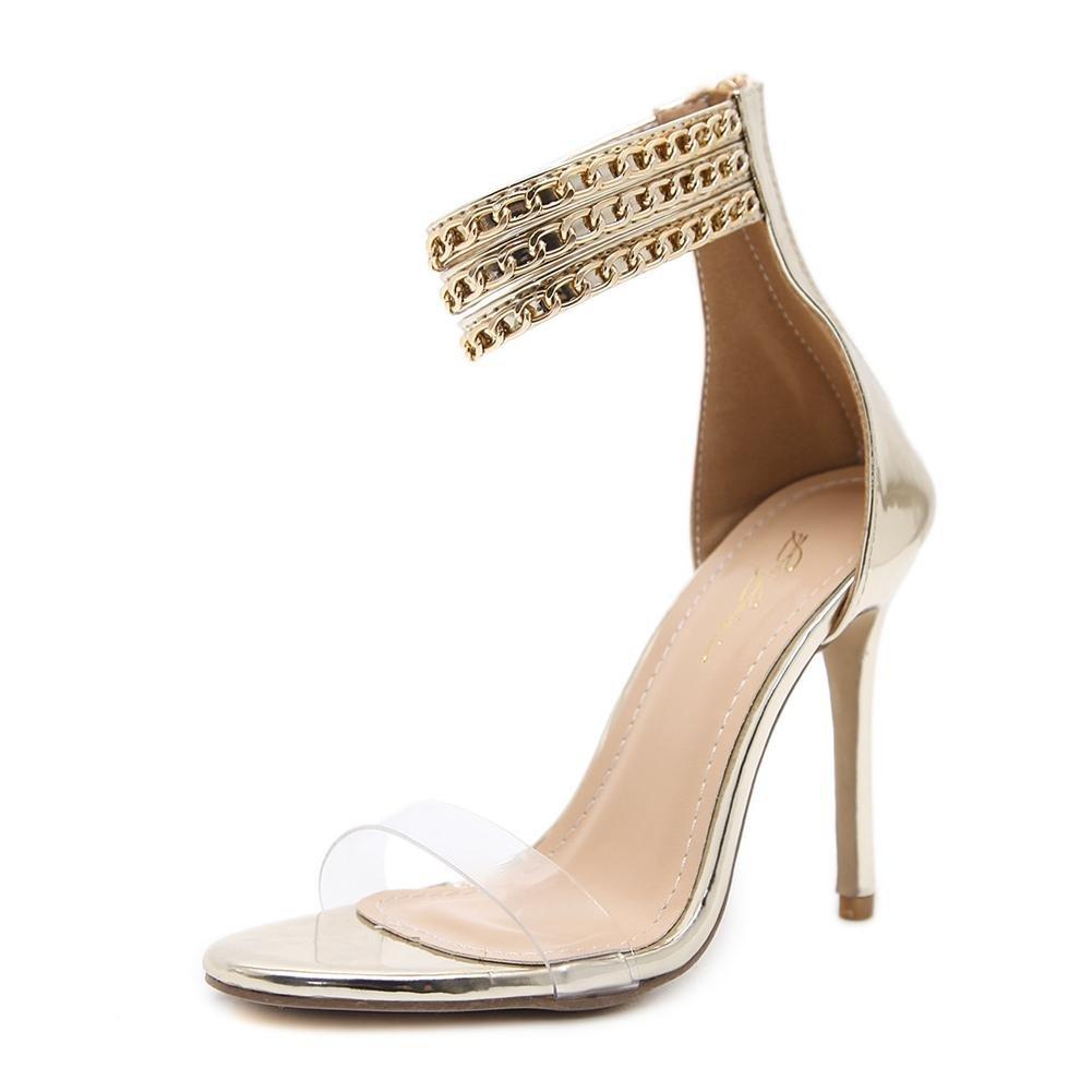 Damen Sexy Sandalen Stilett Hoch Hacke Schuhe Gucken Zehe Transparent Knöchel Gurt Metall Kette Schwarz Arbeit Party Kleid Nachtclub