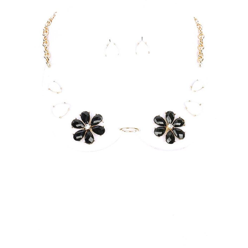 FB Jewels Solid Link Necklace And Earring Set Metal With Clear Collar Necklace