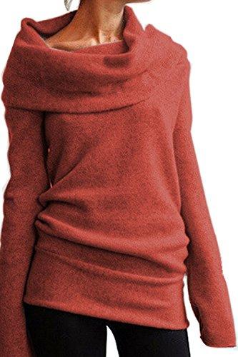 Tricots S 2XL Hiver Manches Automne Casual Pull Longues Aidonger orange Femme Pour HqzxzEF