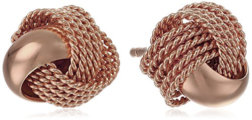 Silver Mesh Sterling Knot - Rose Gold-Plated Sterling Silver Mesh Love Knot Stud Earrings