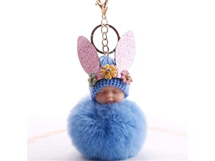 Amazon.com  Purse Holder Soft Plush Ball Keychain Rhinestone Rabbit ... 9071d9cc6b52