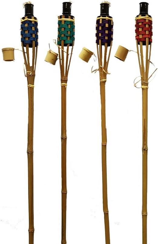 K & F 24 unidades bambú Antorchas de jardín 120 cm Cuatro Colores, aceite, Antorchas con