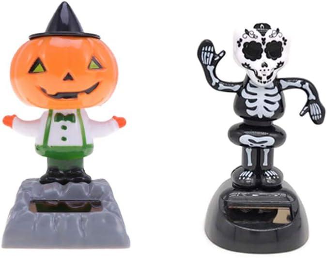Amosfun 2 Pcs Halloween Dashboard Toys Solar Powered Pumpkin Doll Skull Skeleton Doll Bobble Head Swing Cartoon Toys Car Party Decoration