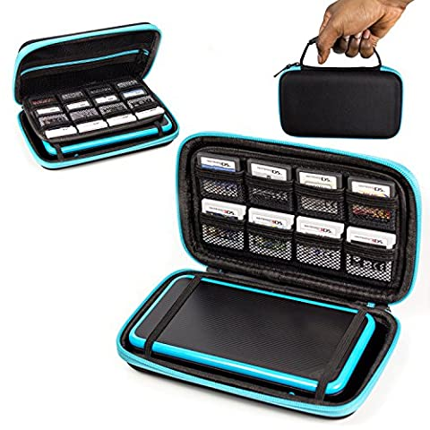 2DS XL Case, Orzly Carry Case for New Nintendo 2DS XL - Protective Hard Shell Portable Travel Case Pouch for New 2DS XL Console with Slots for Games & Zip Pocket - BLUE on (3ds Xl Charging Case)