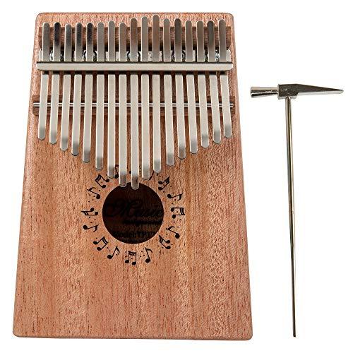 Youqian Marimba Pianos, 17 Keys Kalimba Solid Finger Piano Mahogany Body Metal Tune-Hammer, Finger Piano African Instrument TP-17