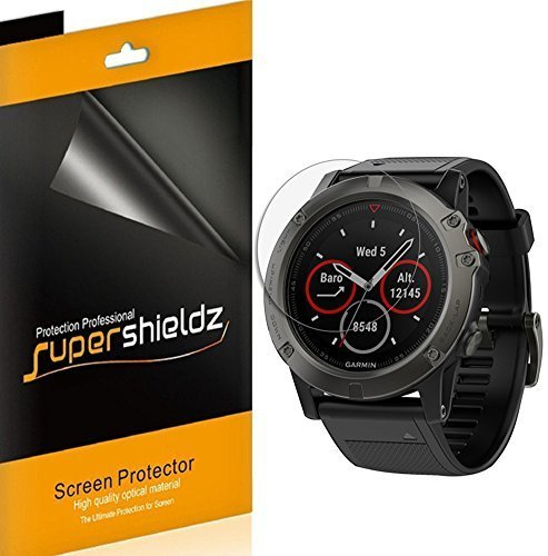 Supershieldz [6-Pack] for Garmin Fenix 5X Screen Protector [Full Screen Coverage] High Definition Clear Shield
